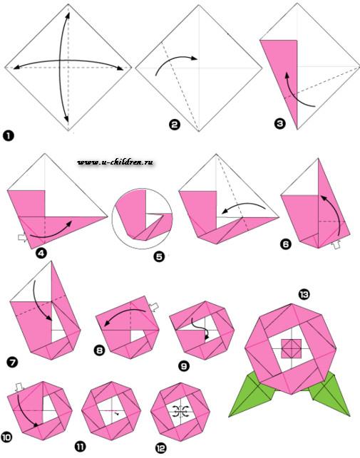 www,u-children.ru kak sdelati cveti origami 2